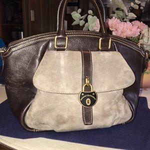Dooney & Bourke Beige Suede Brown Leather Satchel